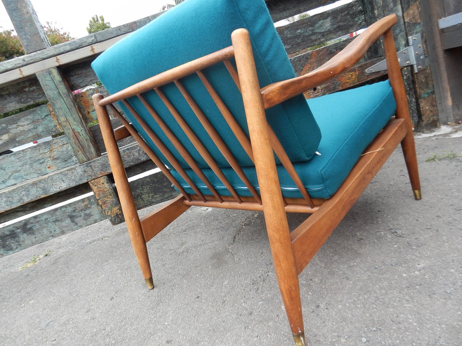 Upcycled Mid Century Lounge Chair in Teal Wool